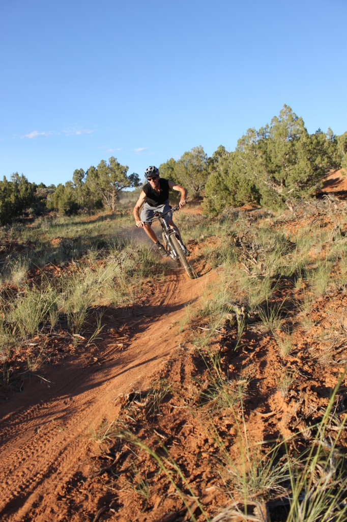 Red dust and narrow singletrack on Jass-Chrome Molly Trail. (Rider - Mike DeBernardo)