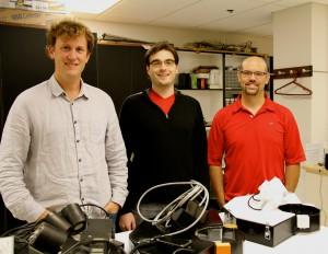 Garrett, Shkurau and Fallgatter in their U of U lab